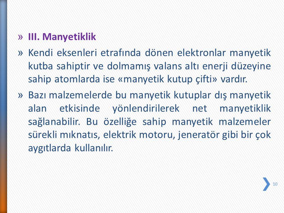 » III. Manyetiklik » Kendi eksenleri etrafında dönen elektronlar manyetik kutba sahiptir ve dolmamış valans altı enerji düzeyine sahip atomlarda ise «