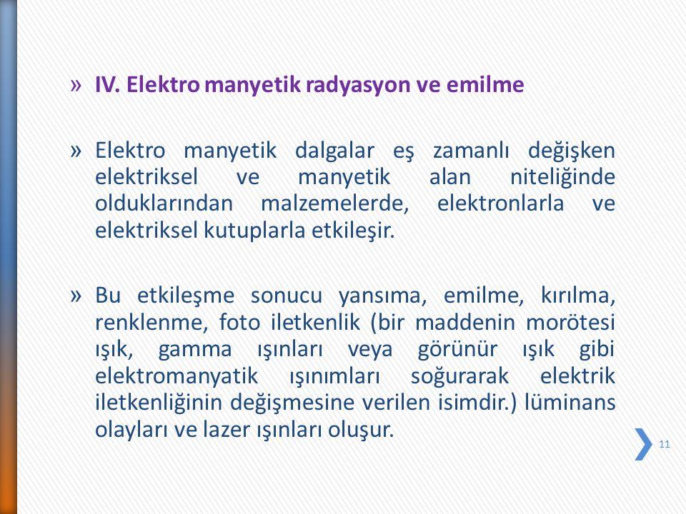 » IV. Elektro manyetik radyasyon ve emilme » Elektro manyetik dalgalar eş zamanlı değişken elektriksel ve manyetik alan niteliğinde olduklarından malz