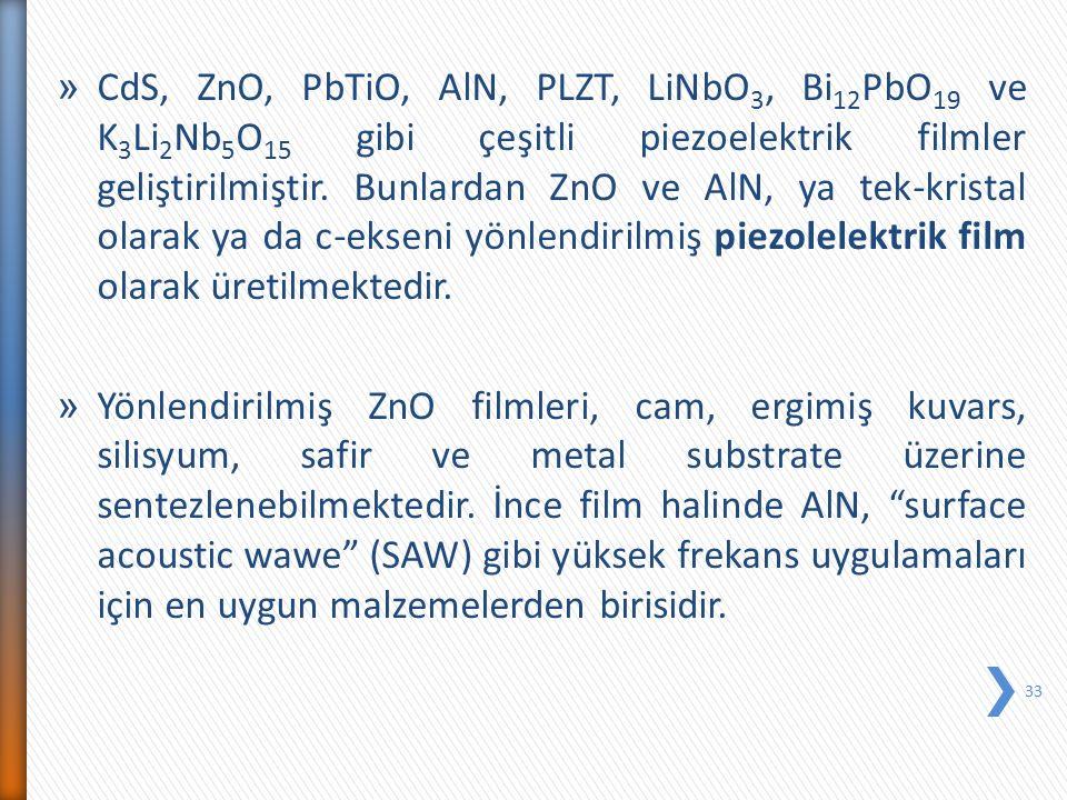 » CdS, ZnO, PbTiO, AlN, PLZT, LiNbO 3, Bi 12 PbO 19 ve K 3 Li 2 Nb 5 O 15 gibi çeşitli piezoelektrik filmler geliştirilmiştir. Bunlardan ZnO ve AlN, y