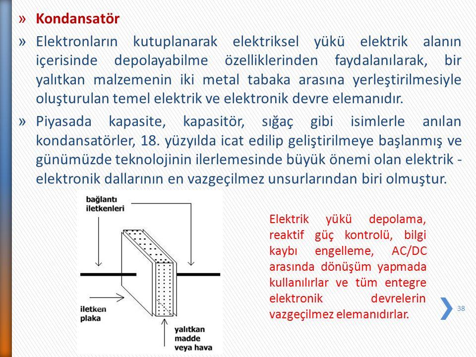 » Kondansatör » Elektronların kutuplanarak elektriksel yükü elektrik alanın içerisinde depolayabilme özelliklerinden faydalanılarak, bir yalıtkan malz