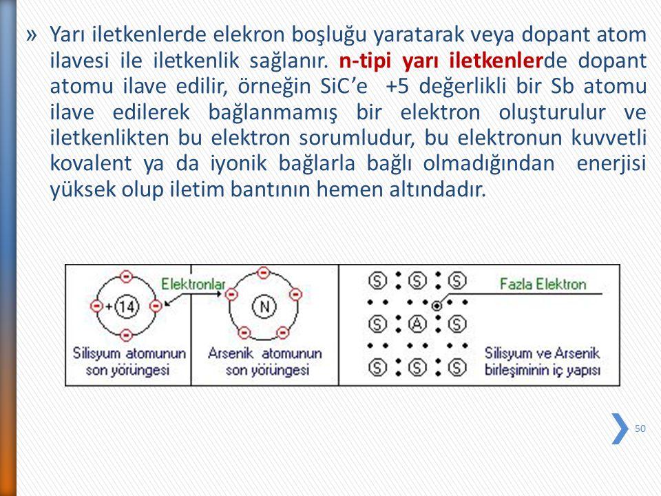 » Yarı iletkenlerde elekron boşluğu yaratarak veya dopant atom ilavesi ile iletkenlik sağlanır. n-tipi yarı iletkenlerde dopant atomu ilave edilir, ör