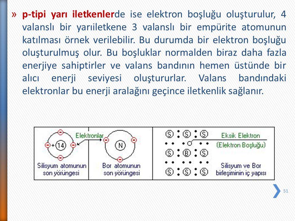 » p-tipi yarı iletkenlerde ise elektron boşluğu oluşturulur, 4 valanslı bir yarıiletkene 3 valanslı bir empürite atomunun katılması örnek verilebilir.