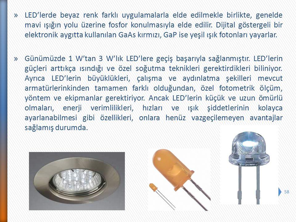 » LED'lerde beyaz renk farklı uygulamalarla elde edilmekle birlikte, genelde mavi ışığın yolu üzerine fosfor konulmasıyla elde edilir. Dijital gösterg