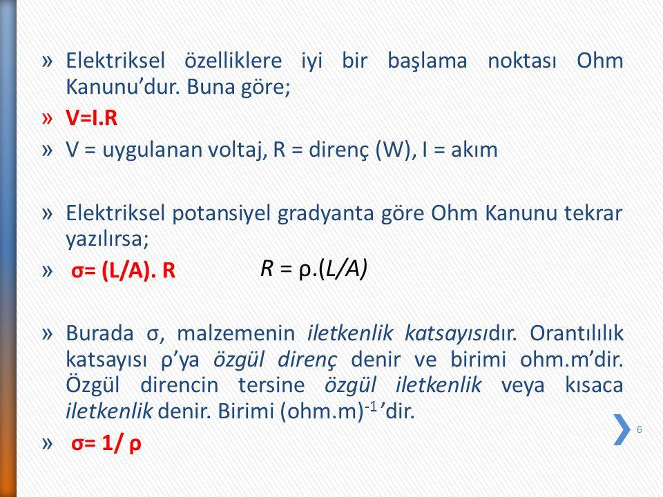 » Elektriksel özelliklere iyi bir başlama noktası Ohm Kanunu'dur. Buna göre; » V=I.R » V = uygulanan voltaj, R = direnç (W), I = akım » Elektriksel po