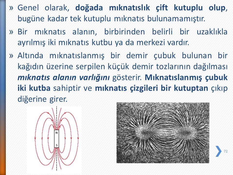 » Genel olarak, doğada mıknatıslık çift kutuplu olup, bugüne kadar tek kutuplu mıknatıs bulunamamıştır. » Bir mıknatıs alanın, birbirinden belirli bir
