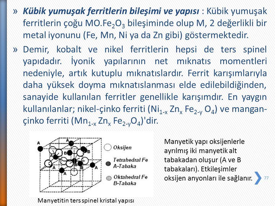 » Kübik yumuşak ferritlerin bileşimi ve yapısı : Kübik yumuşak ferritlerin çoğu MO.Fe 2 O 3 bileşiminde olup M, 2 değerlikli bir metal iyonunu (Fe, Mn