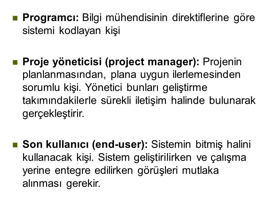 n Programcı: Bilgi mühendisinin direktiflerine göre sistemi kodlayan kişi n Proje yöneticisi (project manager): Projenin planlanmasından, plana uygun ilerlemesinden sorumlu kişi.