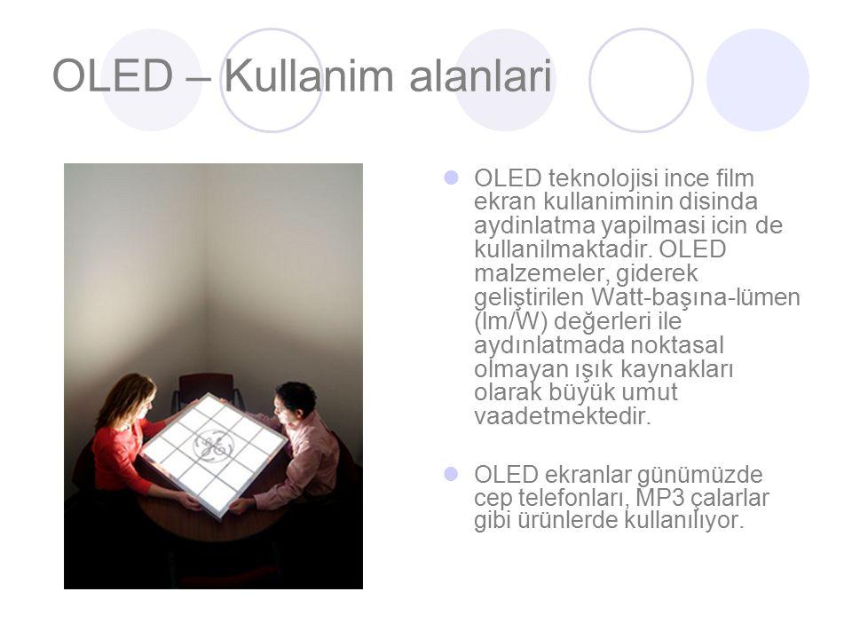 OLED – Kullanim alanlari OLED teknolojisi ince film ekran kullaniminin disinda aydinlatma yapilmasi icin de kullanilmaktadir.