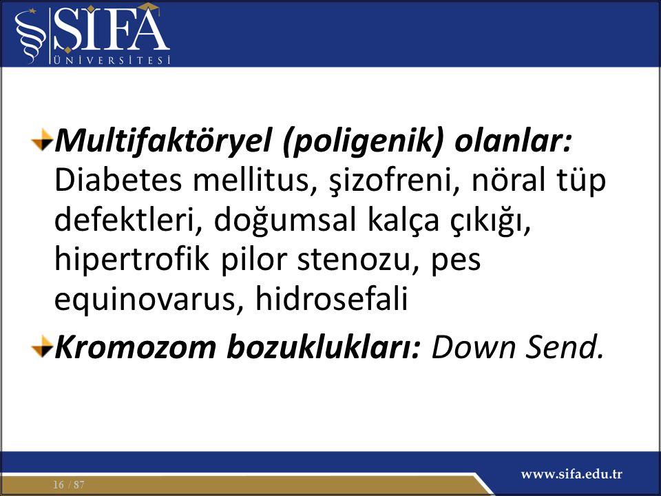Multifaktöryel (poligenik) olanlar: Diabetes mellitus, şizofreni, nöral tüp defektleri, doğumsal kalça çıkığı, hipertrofik pilor stenozu, pes equinovarus, hidrosefali Kromozom bozuklukları: Down Send.