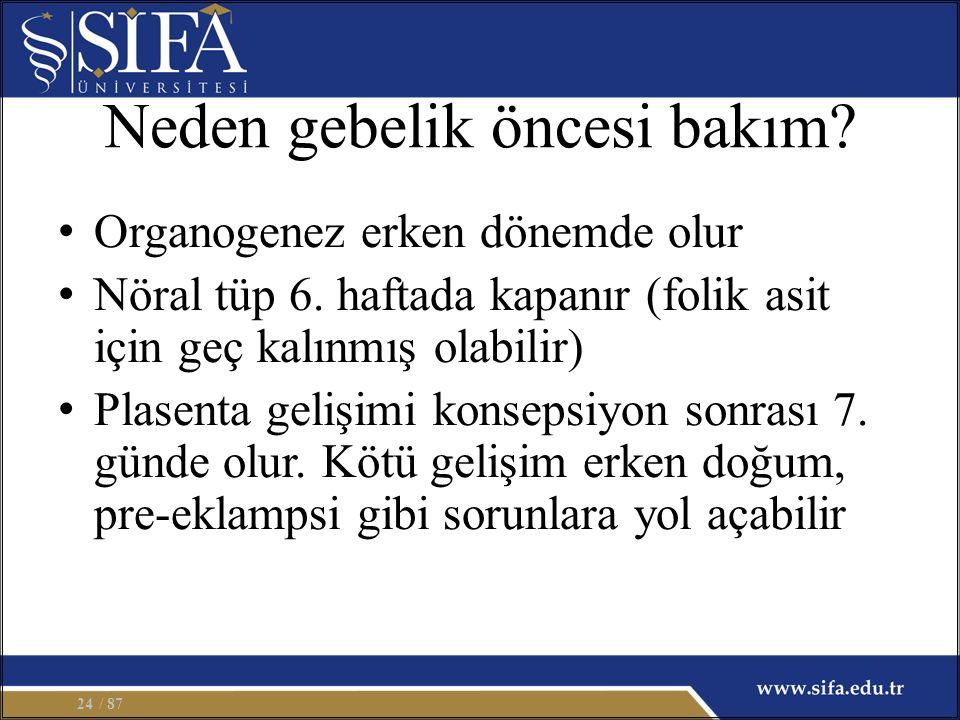 Neden gebelik öncesi bakım. Organogenez erken dönemde olur Nöral tüp 6.