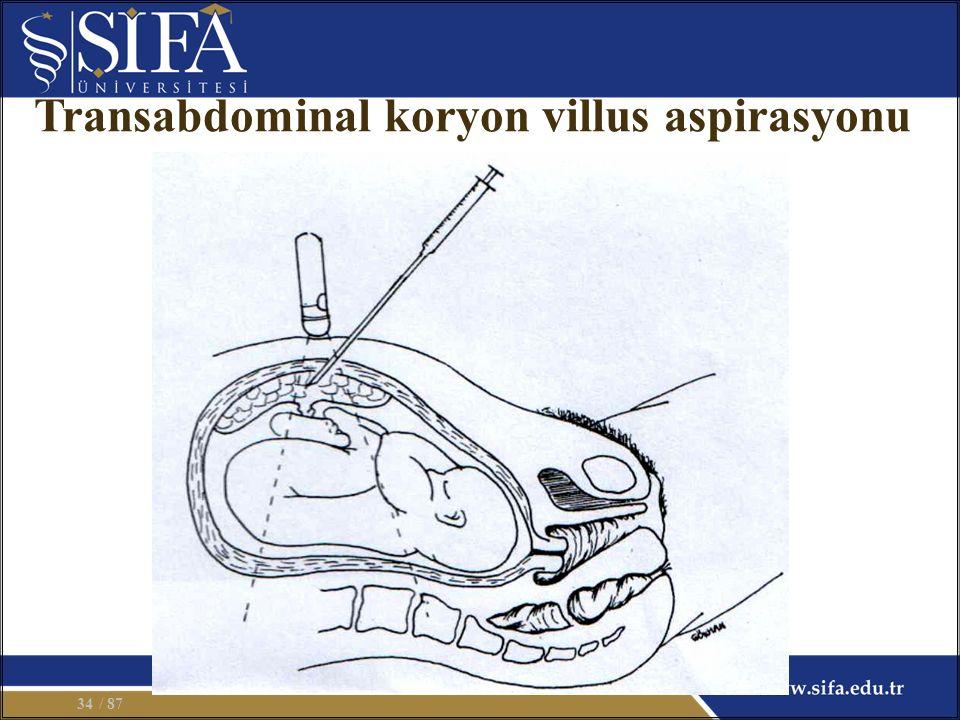 Transabdominal koryon villus aspirasyonu / 8734
