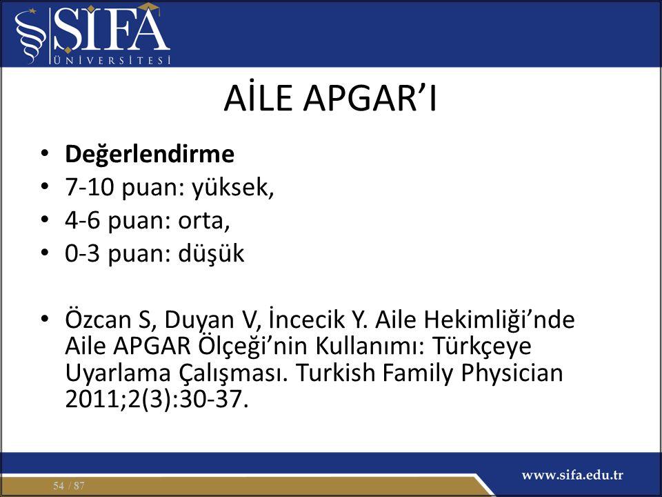 AİLE APGAR'I Değerlendirme 7-10 puan: yüksek, 4-6 puan: orta, 0-3 puan: düşük Özcan S, Duyan V, İncecik Y. Aile Hekimliği'nde Aile APGAR Ölçeği'nin Ku