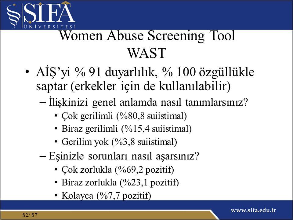 Women Abuse Screening Tool WAST AİŞ'yi % 91 duyarlılık, % 100 özgüllükle saptar (erkekler için de kullanılabilir) – İlişkinizi genel anlamda nasıl tanımlarsınız.