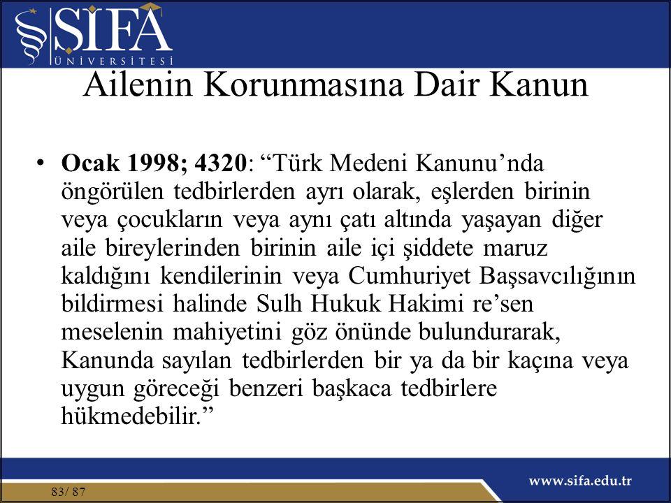 Ailenin Korunmasına Dair Kanun Ocak 1998; 4320: Türk Medeni Kanunu'nda öngörülen tedbirlerden ayrı olarak, eşlerden birinin veya çocukların veya aynı çatı altında yaşayan diğer aile bireylerinden birinin aile içi şiddete maruz kaldığını kendilerinin veya Cumhuriyet Başsavcılığının bildirmesi halinde Sulh Hukuk Hakimi re'sen meselenin mahiyetini göz önünde bulundurarak, Kanunda sayılan tedbirlerden bir ya da bir kaçına veya uygun göreceği benzeri başkaca tedbirlere hükmedebilir. / 8783