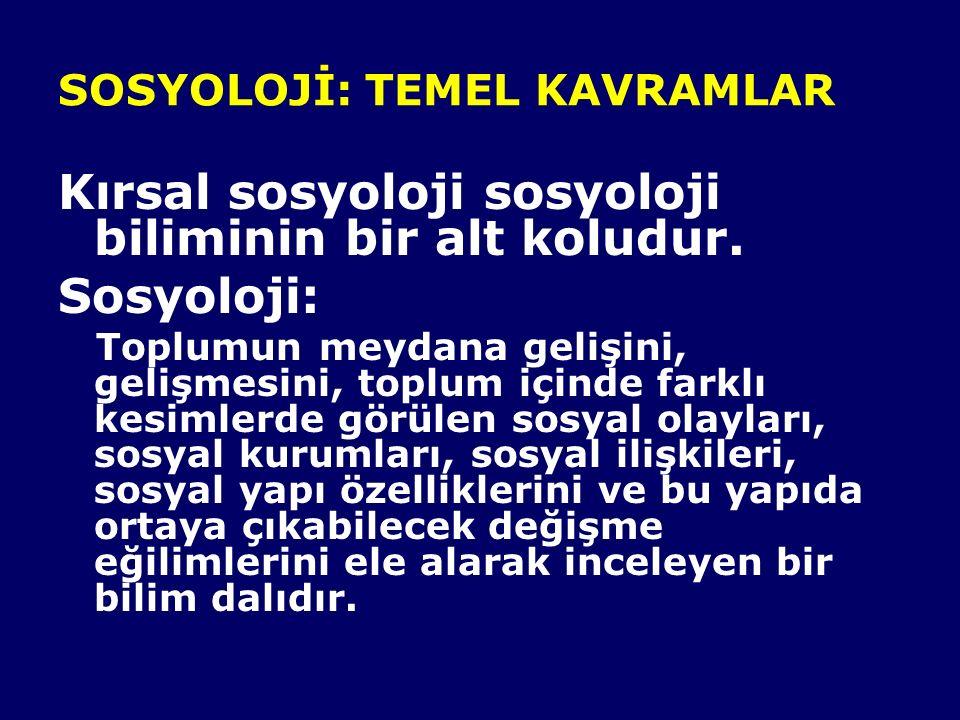 SOSYOLOJİ: TEMEL KAVRAMLAR Kırsal sosyoloji sosyoloji biliminin bir alt koludur. Sosyoloji: Toplumun meydana gelişini, gelişmesini, toplum içinde fark