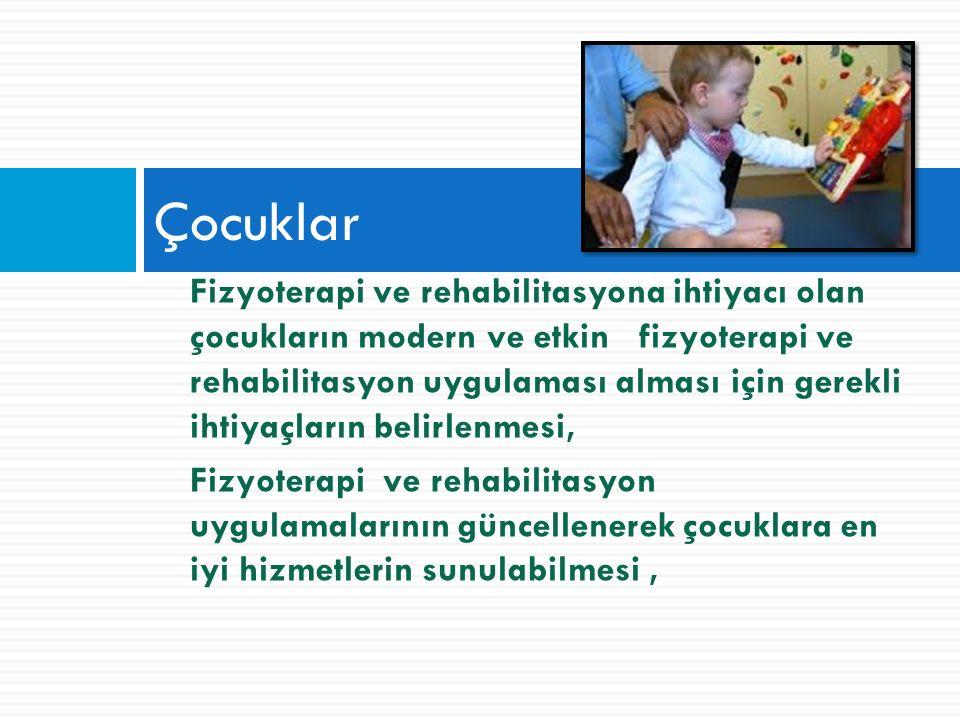 Fizyoterapi ve rehabilitasyona ihtiyacı olan çocukların modern ve etkin fizyoterapi ve rehabilitasyon uygulaması alması için gerekli ihtiyaçların belirlenmesi, Fizyoterapi ve rehabilitasyon uygulamalarının güncellenerek çocuklara en iyi hizmetlerin sunulabilmesi, Çocuklar