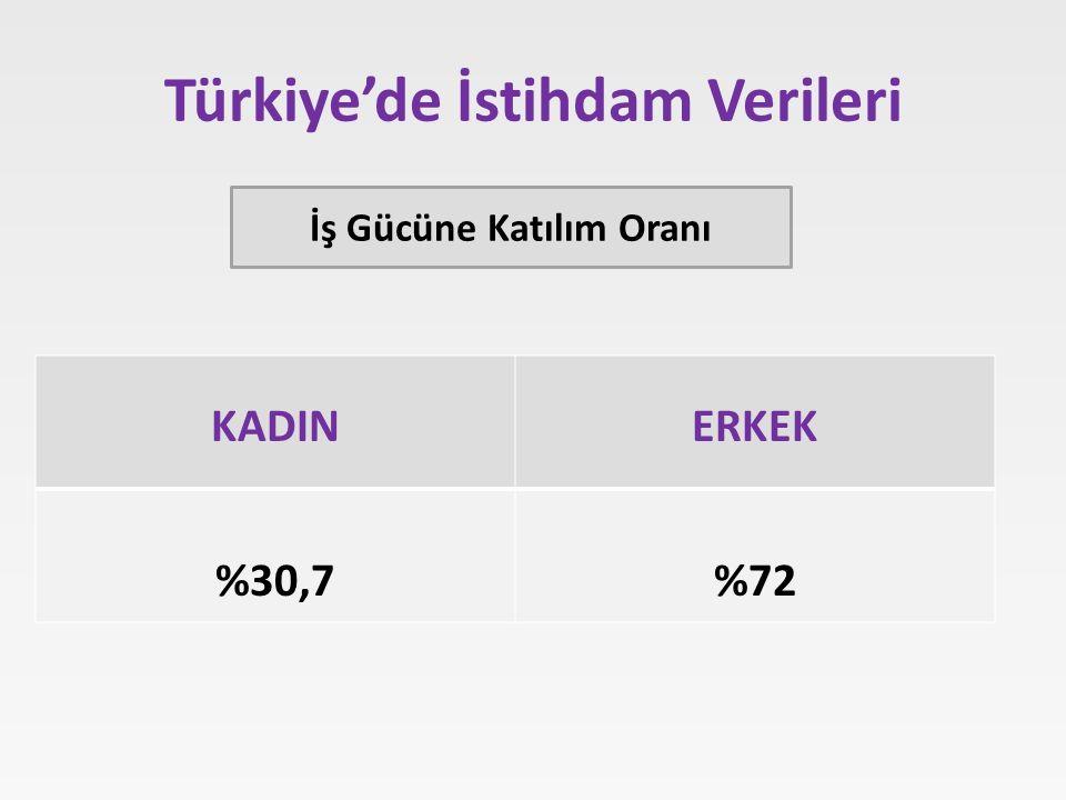 Türkiye'de İstihdam Verileri KADINERKEK %30,7%72 İş Gücüne Katılım Oranı