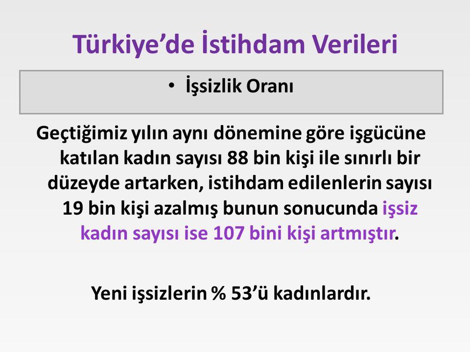 Türkiye'de İstihdam Verileri Geçtiğimiz yılın aynı dönemine göre işgücüne katılan kadın sayısı 88 bin kişi ile sınırlı bir düzeyde artarken, istihdam edilenlerin sayısı 19 bin kişi azalmış bunun sonucunda işsiz kadın sayısı ise 107 bini kişi artmıştır.