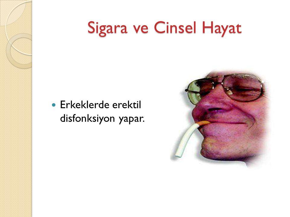 Sigara ve Cinsel Hayat Erkeklerde erektil disfonksiyon yapar.