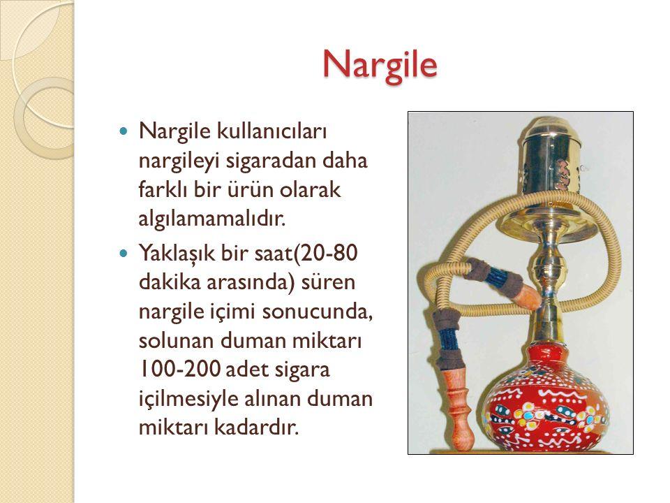 Nargile Nargile kullanıcıları nargileyi sigaradan daha farklı bir ürün olarak algılamamalıdır.