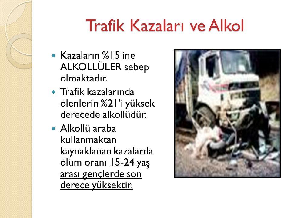 Trafik Kazaları ve Alkol Kazaların %15 ine ALKOLLÜLER sebep olmaktadır.