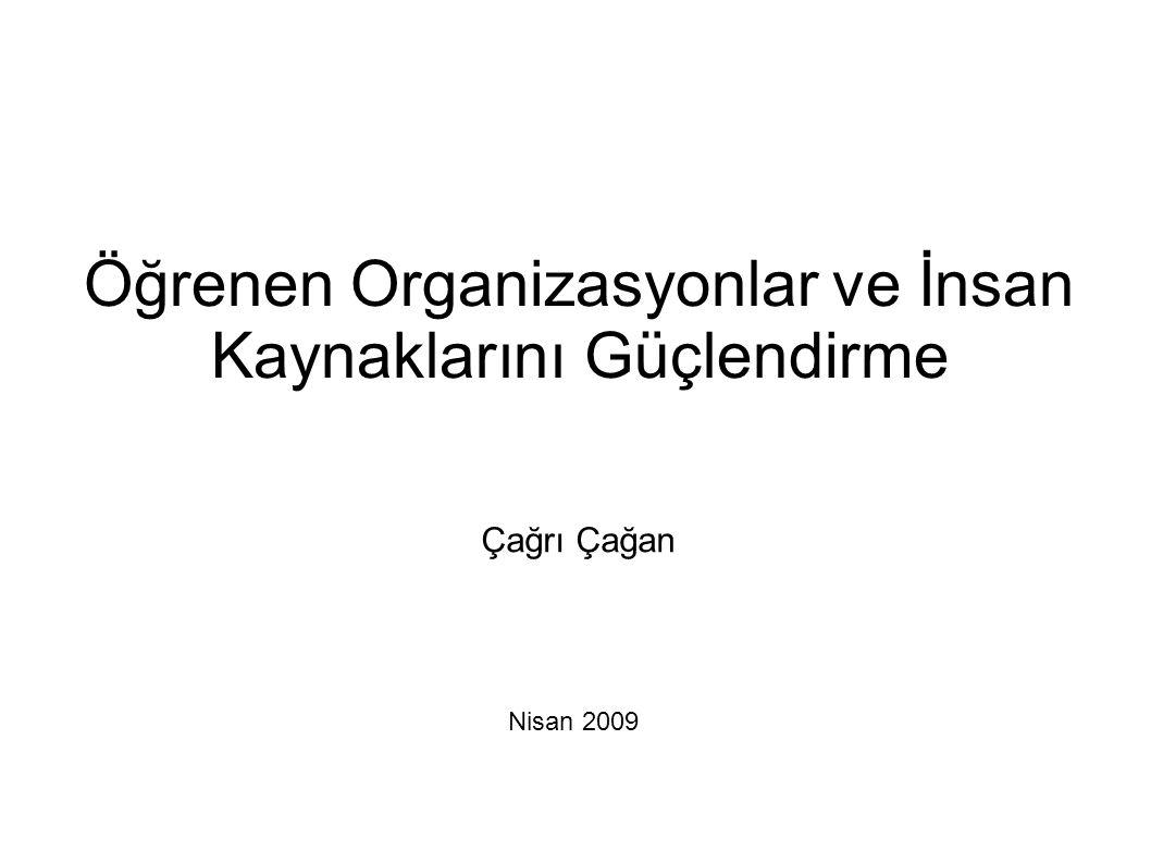 Öğrenen Organizasyonlar ve İnsan Kaynaklarını Güçlendirme Nisan 2009 Çağrı Çağan
