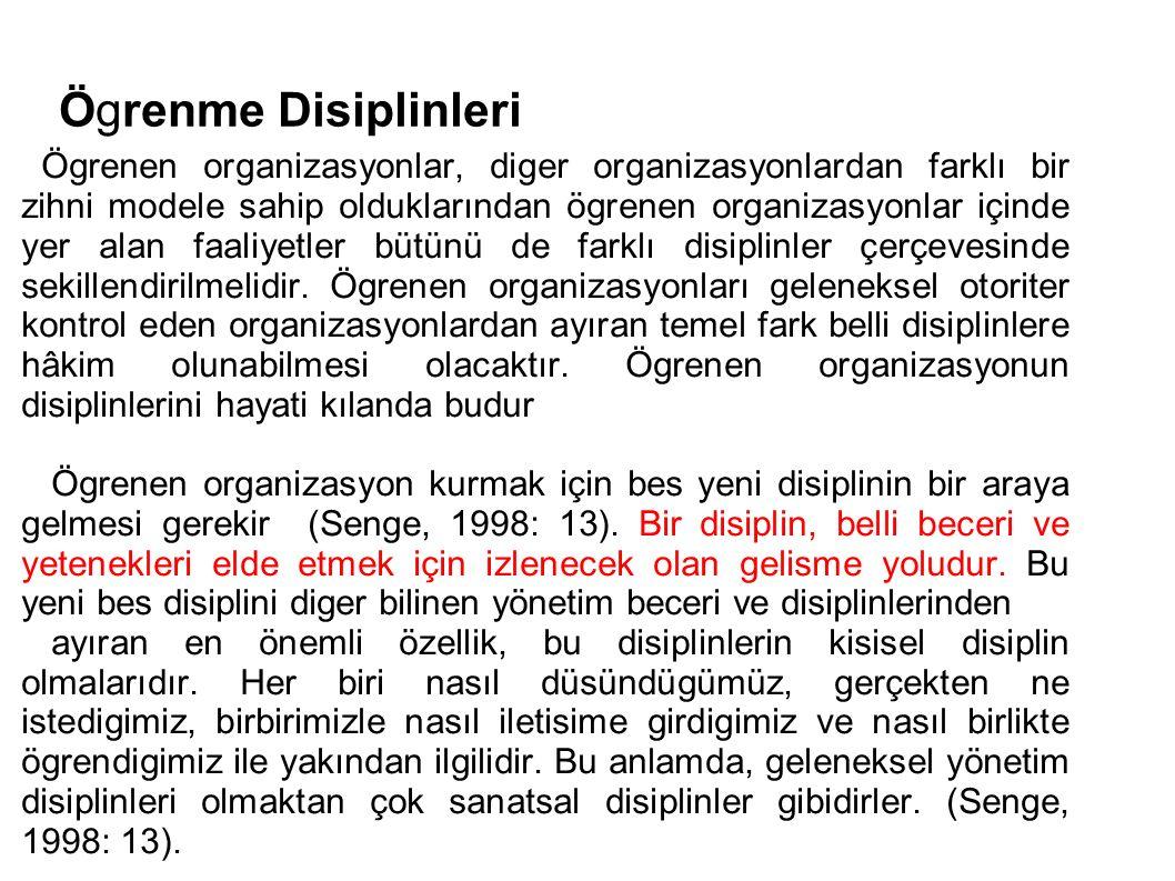 Ögrenme Disiplinleri Ögrenen organizasyonlar, diger organizasyonlardan farklı bir zihni modele sahip olduklarından ögrenen organizasyonlar içinde yer