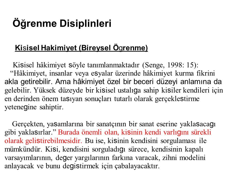 """Öğrenme Disiplinleri Kisisel Hakimiyet (Bireysel Ögrenme) Ki s isel hâkimiyet s öyle tanımlanmaktadır (Senge, 1998: 15): """"Hâkimiyet, insanlar veya e s"""
