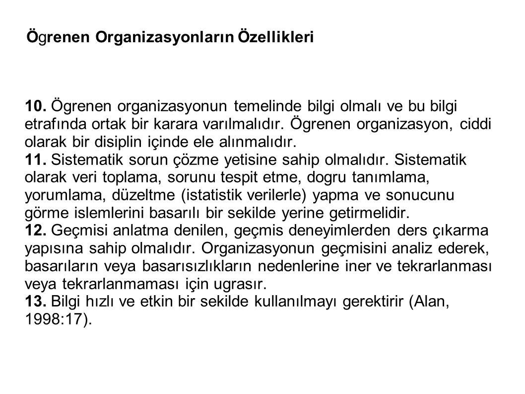 Ögrenen Organizasyonların Özellikleri 10. Ögrenen organizasyonun temelinde bilgi olmalı ve bu bilgi etrafında ortak bir karara varılmalıdır. Ögrenen o