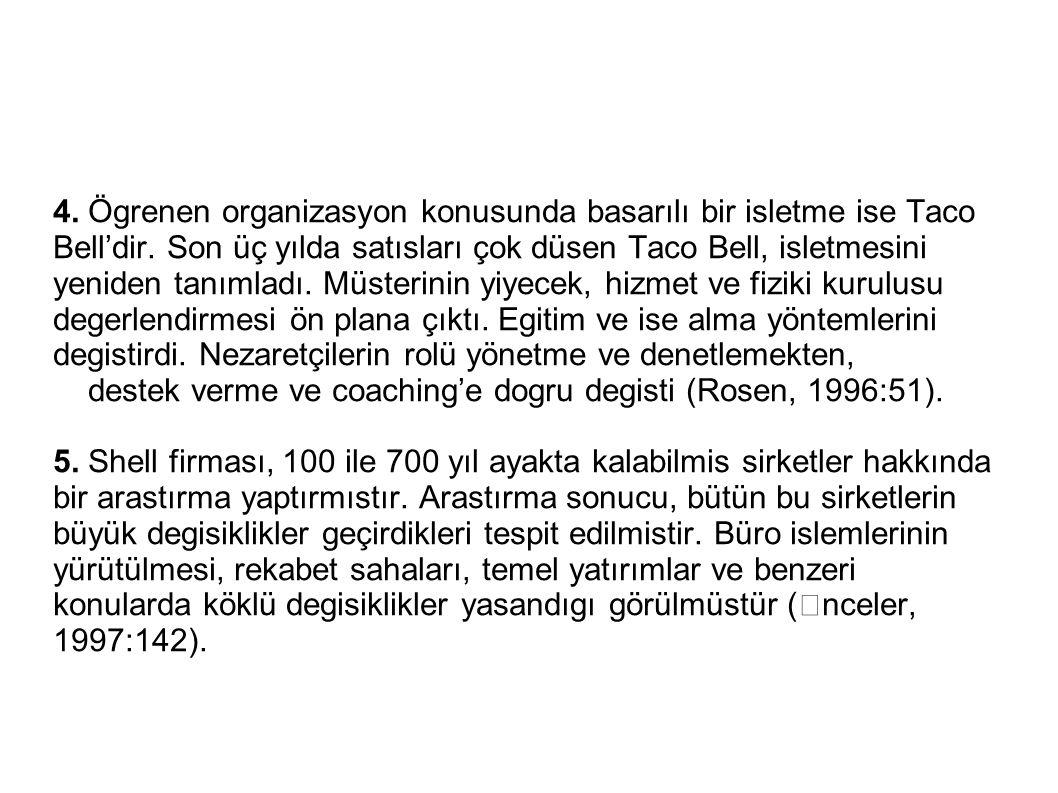 4. Ögrenen organizasyon konusunda basarılı bir isletme ise Taco Bell'dir. Son üç yılda satısları çok düsen Taco Bell, isletmesini yeniden tanımladı. M