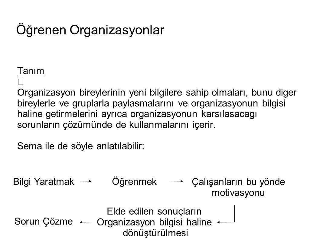 Öğrenen Organizasyonlar Ö g renen organizasyonlar, sistemin bütün olarak organizasyon aracılı g ıyla ö g renmesidir (Schein, 1993: 85).
