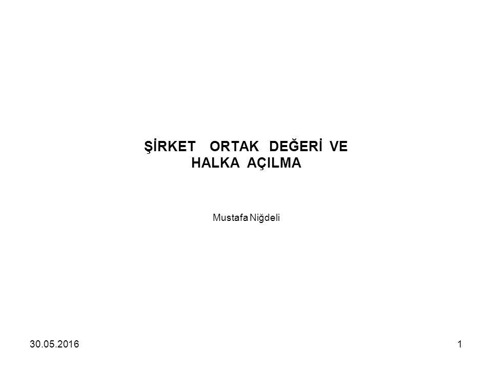 ŞİRKET ORTAK DEĞERİ VE HALKA AÇILMA Mustafa Niğdeli 30.05.20161