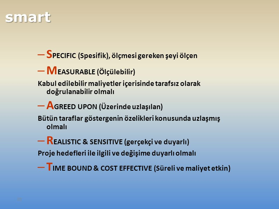 70 – S PECIFIC (Spesifik), ölçmesi gereken şeyi ölçen – M EASURABLE (Ölçülebilir) Kabul edilebilir maliyetler içerisinde tarafsız olarak doğrulanabilir olmalı – A GREED UPON (Üzerinde uzlaşılan) Bütün taraflar göstergenin özelikleri konusunda uzlaşmış olmalı – R EALISTIC & SENSITIVE (gerçekçi ve duyarlı) Proje hedefleri ile ilgili ve değişime duyarlı olmalı – T IME BOUND & COST EFFECTIVE (Süreli ve maliyet etkin) smart