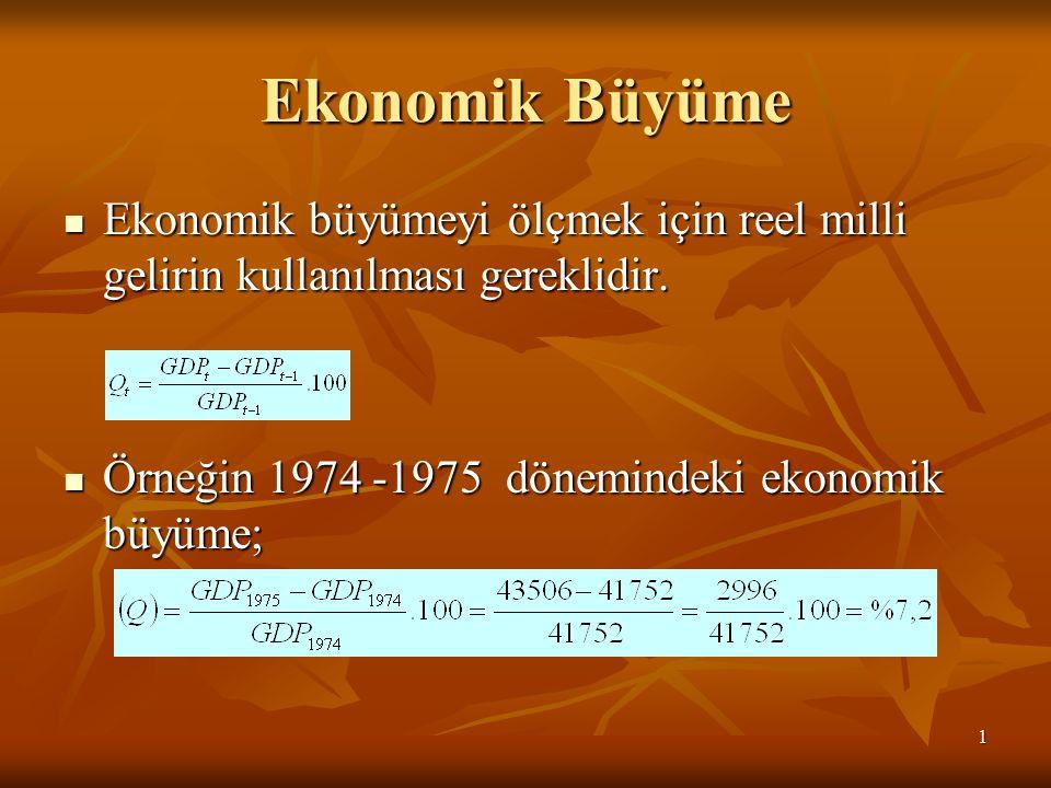 1 Ekonomik Büyüme Ekonomik büyümeyi ölçmek için reel milli gelirin kullanılması gereklidir.