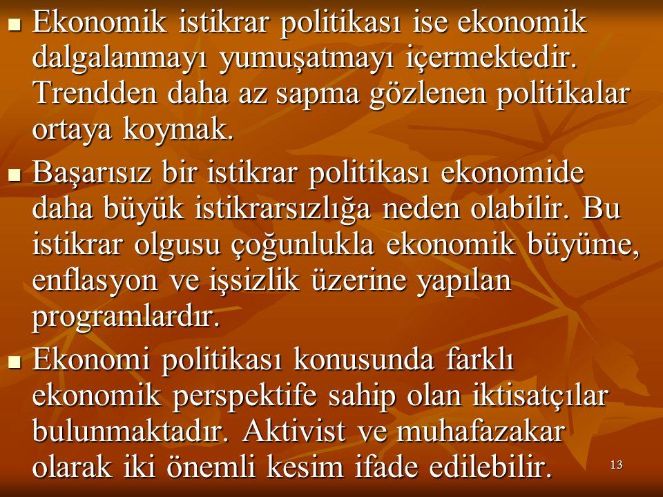 13 Ekonomik istikrar politikası ise ekonomik dalgalanmayı yumuşatmayı içermektedir.