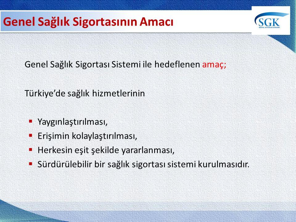 Genel Sağlık Sigortası Sistemi ile hedeflenen amaç; Türkiye'de sağlık hizmetlerinin  Yaygınlaştırılması,  Erişimin kolaylaştırılması,  Herkesin eşit şekilde yararlanması,  Sürdürülebilir bir sağlık sigortası sistemi kurulmasıdır.