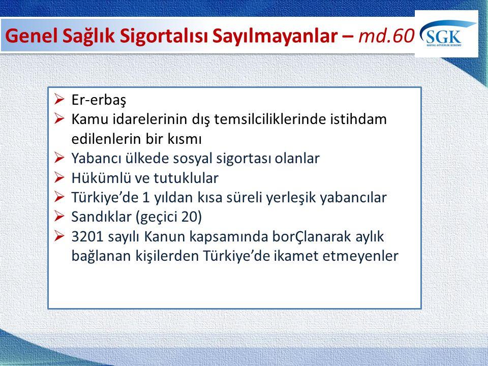  Er-erbaş  Kamu idarelerinin dış temsilciliklerinde istihdam edilenlerin bir kısmı  Yabancı ülkede sosyal sigortası olanlar  Hükümlü ve tutuklular  Türkiye'de 1 yıldan kısa süreli yerleşik yabancılar  Sandıklar (geçici 20)  3201 sayılı Kanun kapsamında borÇlanarak aylık bağlanan kişilerden Türkiye'de ikamet etmeyenler
