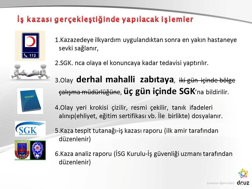 İş Kazaları Eğitimi-2013 1.Kazazedeye ilkyardım uygulandıktan sonra en yakın hastaneye sevki sağlanır, 2.SGK.