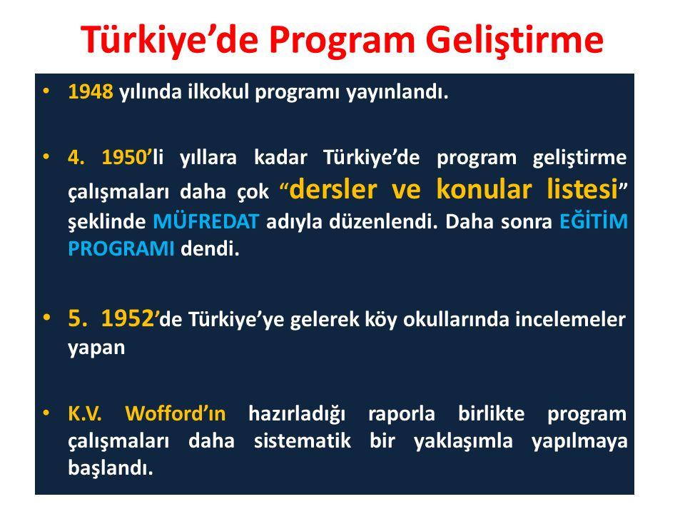Türkiye'de Program Geliştirme 1948 yılında ilkokul programı yayınlandı.