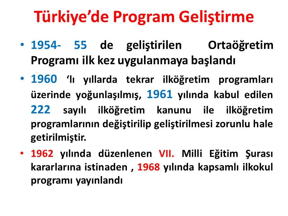 Türkiye'de Program Geliştirme 1954- 55 de geliştirilen Ortaöğretim Programı ilk kez uygulanmaya başlandı 1960 'lı yıllarda tekrar ilköğretim programları üzerinde yoğunlaşılmış, 1961 yılında kabul edilen 222 sayılı ilköğretim kanunu ile ilköğretim programlarının değiştirilip geliştirilmesi zorunlu hale getirilmiştir.