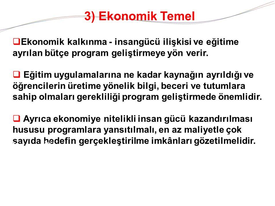 3) Ekonomik Temel  Ekonomik kalkınma - insangücü ilişkisi ve eğitime ayrılan bütçe program geliştirmeye yön verir.