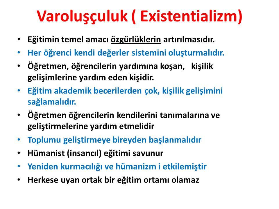 Varoluşçuluk ( Existentializm) Eğitimin temel amacı özgürlüklerin artırılmasıdır.