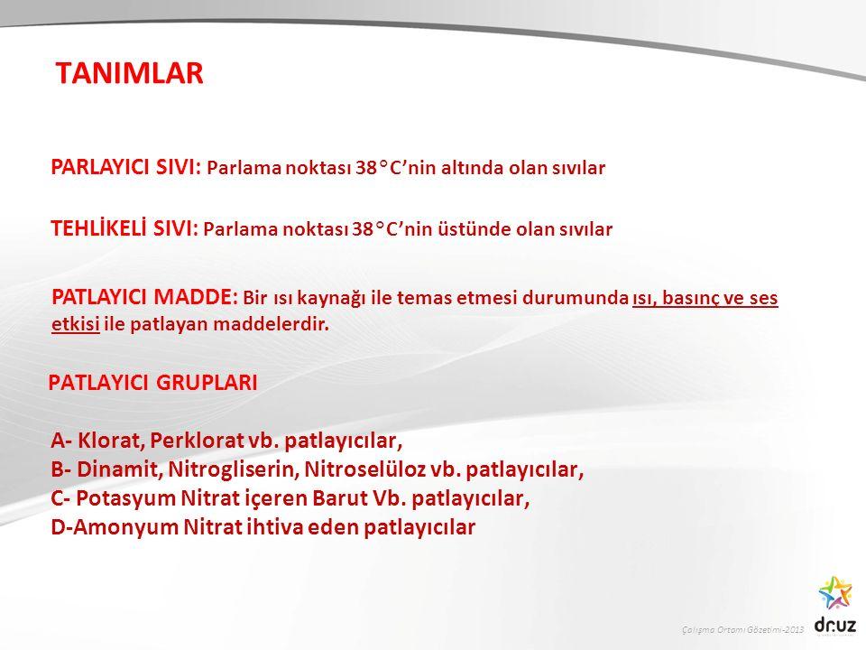 Çalışma Ortamı Gözetimi-2013 PATLAYICI GRUPLARI A- Klorat, Perklorat vb. patlayıcılar, B- Dinamit, Nitrogliserin, Nitroselüloz vb. patlayıcılar, C- Po