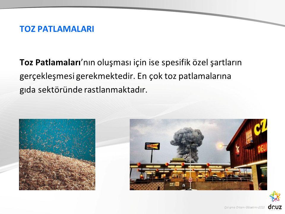 Çalışma Ortamı Gözetimi-2013 TOZ PATLAMALARI Toz Patlamaları'nın oluşması için ise spesifik özel şartların gerçekleşmesi gerekmektedir. En çok toz pat