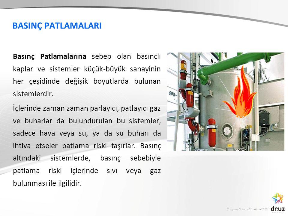 Çalışma Ortamı Gözetimi-2013 BASINÇ PATLAMALARI Basınç Patlamalarına sebep olan basınçlı kaplar ve sistemler küçük-büyük sanayinin her çeşidinde değiş