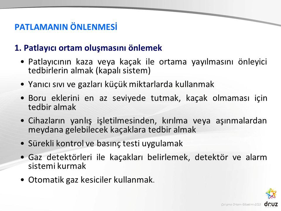 Çalışma Ortamı Gözetimi-2013 PATLAMANIN ÖNLENMESİ 1. Patlayıcı ortam oluşmasını önlemek Patlayıcının kaza veya kaçak ile ortama yayılmasını önleyici t