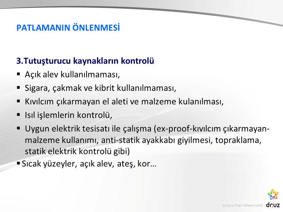 Çalışma Ortamı Gözetimi-2013 PATLAMANIN ÖNLENMESİ 3.Tutuşturucu kaynakların kontrolü  Açık alev kullanılmaması,  Sigara, çakmak ve kibrit kullanılma