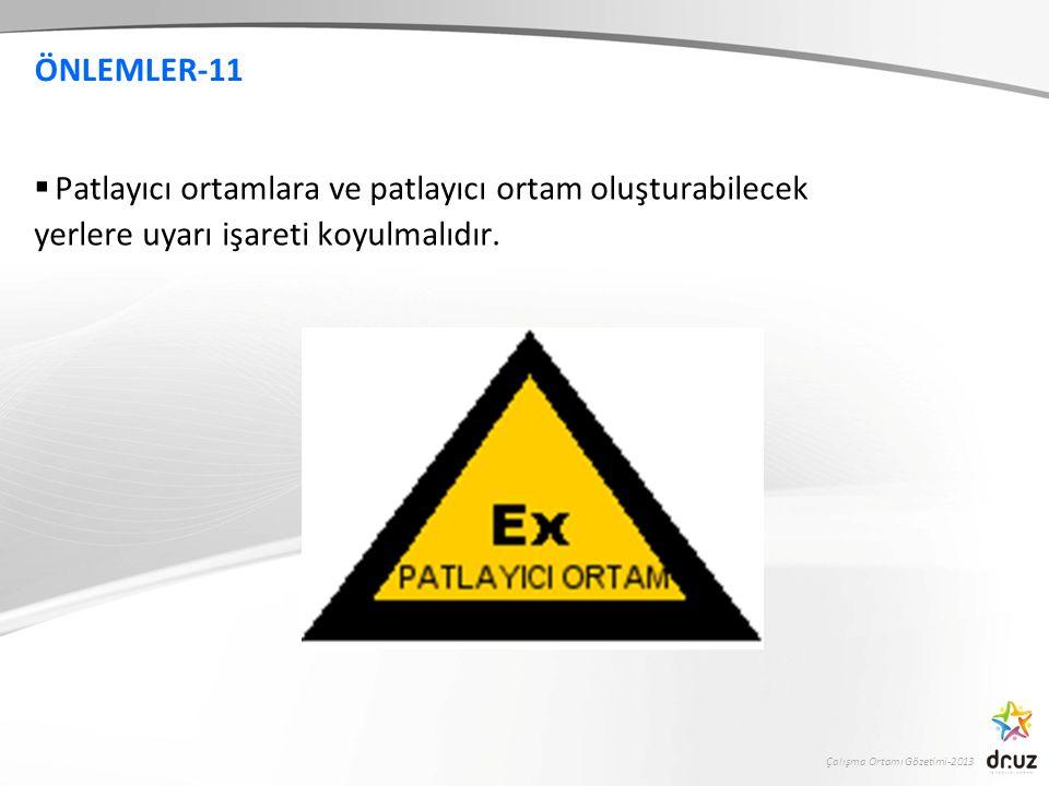 Çalışma Ortamı Gözetimi-2013 ÖNLEMLER-11  Patlayıcı ortamlara ve patlayıcı ortam oluşturabilecek yerlere uyarı işareti koyulmalıdır.