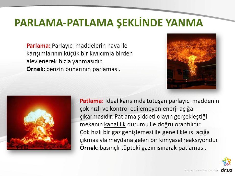 Çalışma Ortamı Gözetimi-2013 Patlama: İdeal karışımda tutuşan parlayıcı maddenin çok hızlı ve kontrol edilemeyen enerji açığa çıkarmasıdır.