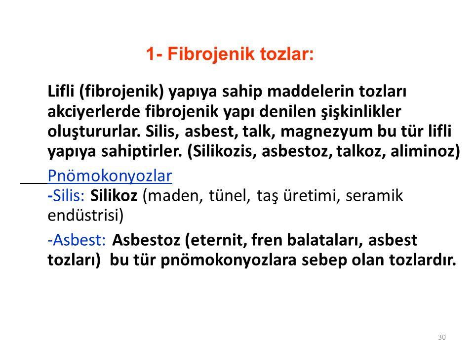 1- Fibrojenik tozlar: Lifli (fibrojenik) yapıya sahip maddelerin tozları akciyerlerde fibrojenik yapı denilen şişkinlikler oluştururlar. Silis, asbest
